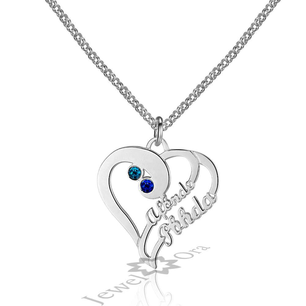 Diy Personalized 925 Sterling Silver Birthstone Heart