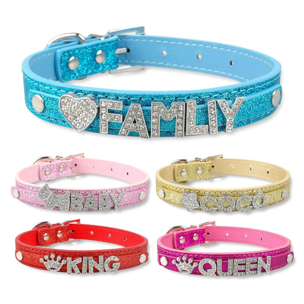 Diy Pet Collar Bling Letters Rhinestone Leather