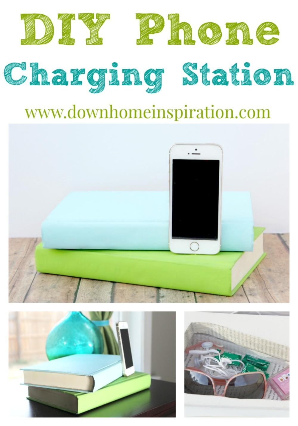 Diy Phone Charging Station Disguised Books Down Home