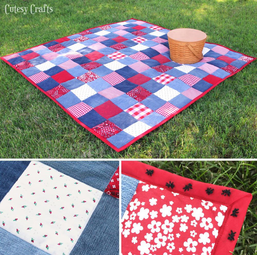 Diy Picnic Quilt Old Jeans Cutesy Crafts