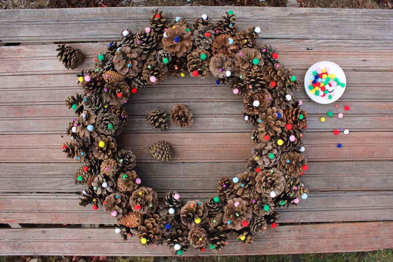 Diy Pinecone Wreath Tutorial Mini Pom Poms