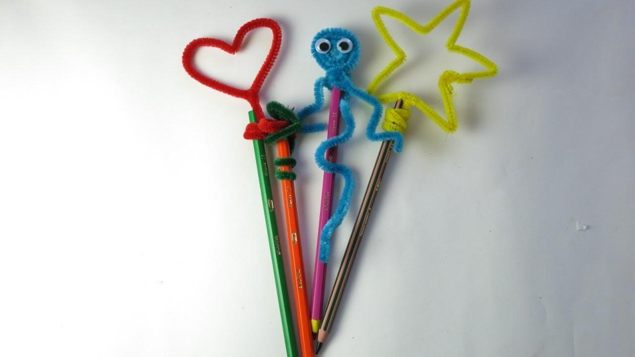 Diy Pipe Cleaner Pencil Toppers Easy Crafts Kids