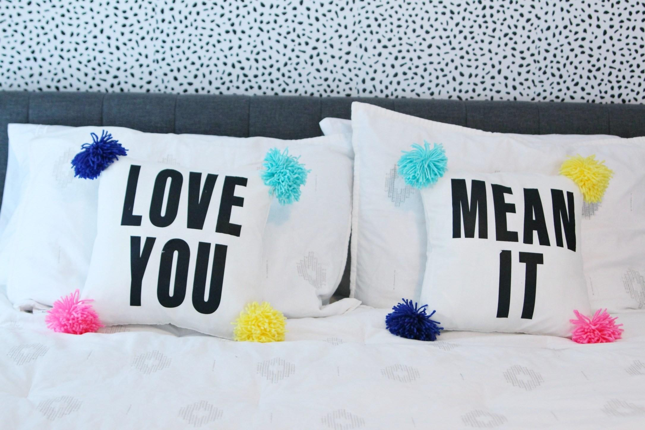 Diy Pom Pillow Text But First Coffee