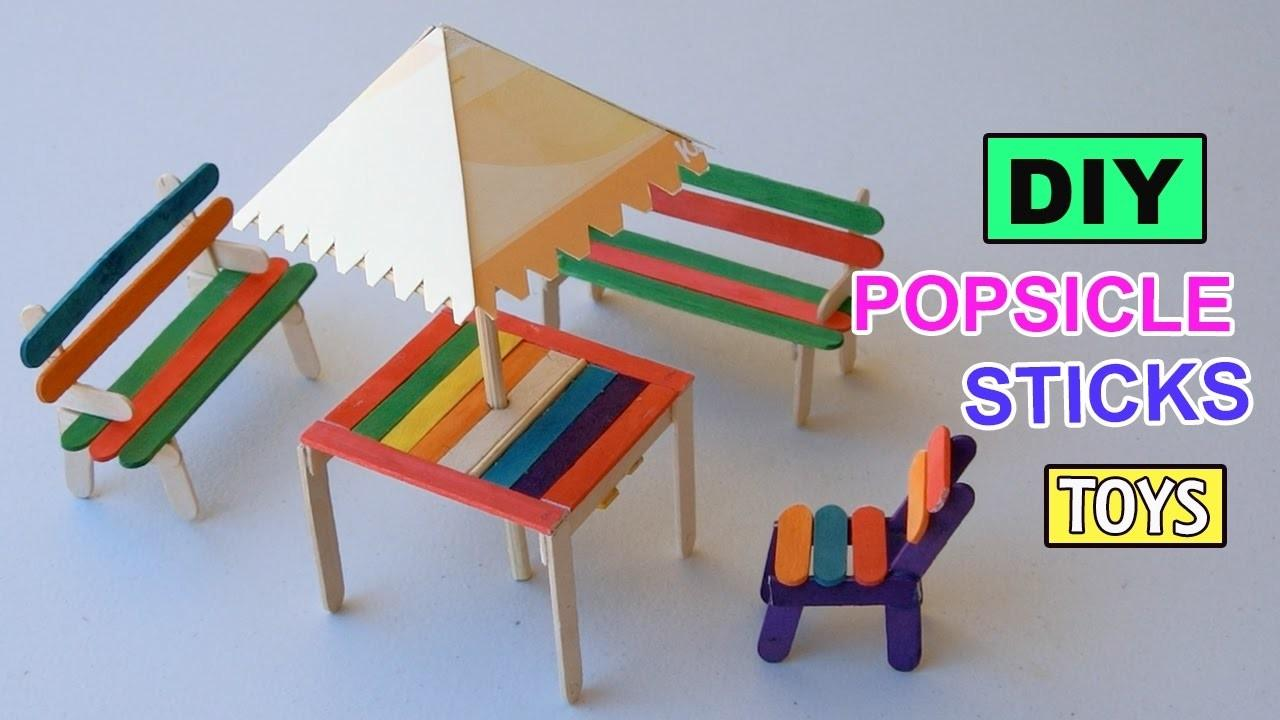 Diy Popsicle Sticks Table Shade Furniture Toys