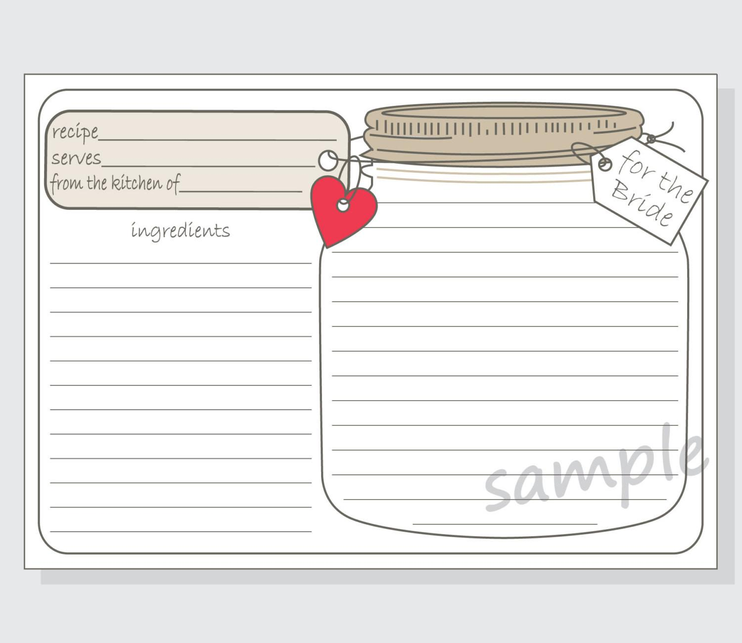 Diy Printable Mason Jar Recipe Cards Bride Red