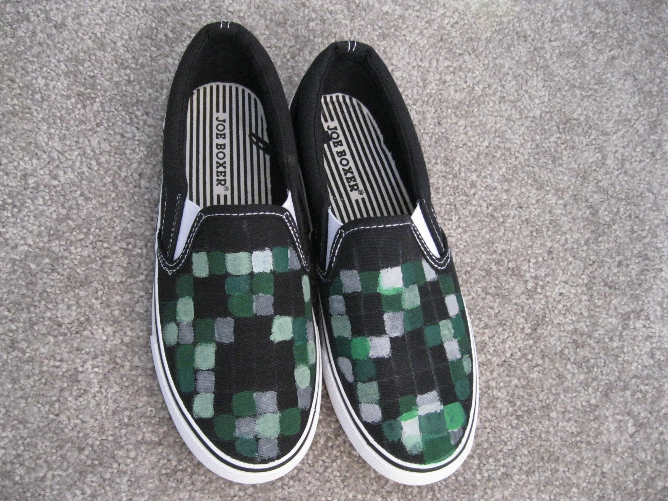 Diy Project Minecraft Creeper Painted Shoes Fun