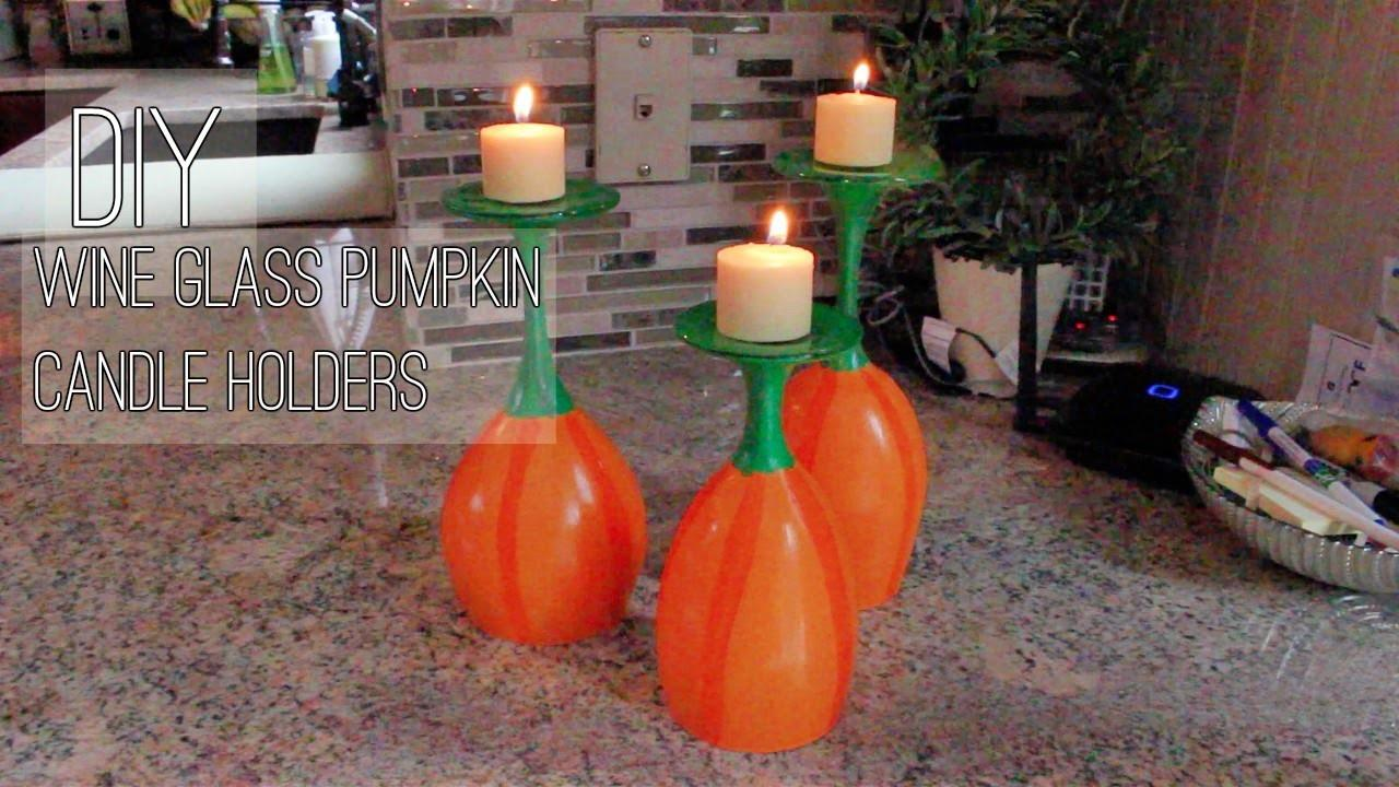 Diy Pumpkin Wine Glass Candle Holders