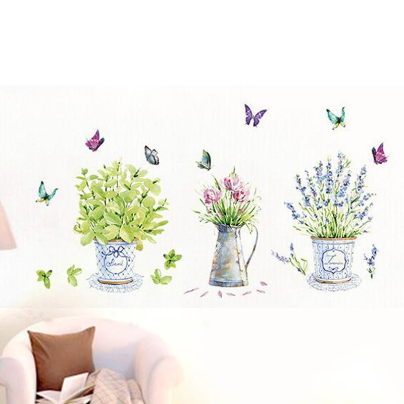 Diy Pvc Removable Flower Pots Wall Stickers Art Decals