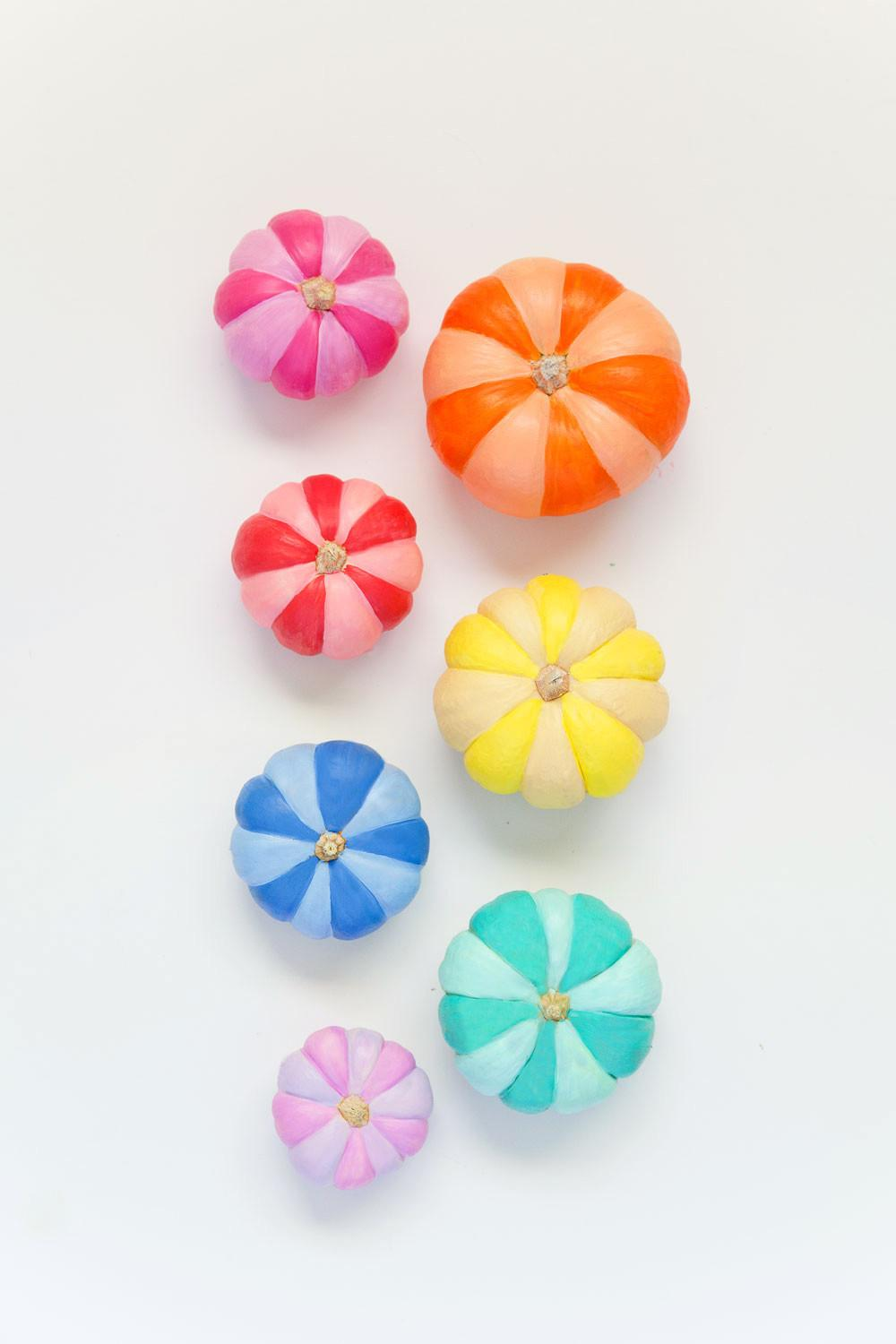 Diy Rainbow Painted Pumpkins Tell Love Party