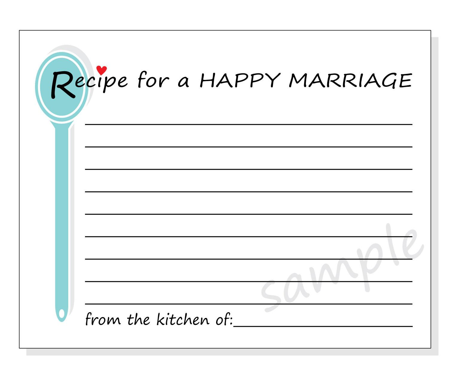 Diy Recipe Happy Marriage Printable Cards Bridal