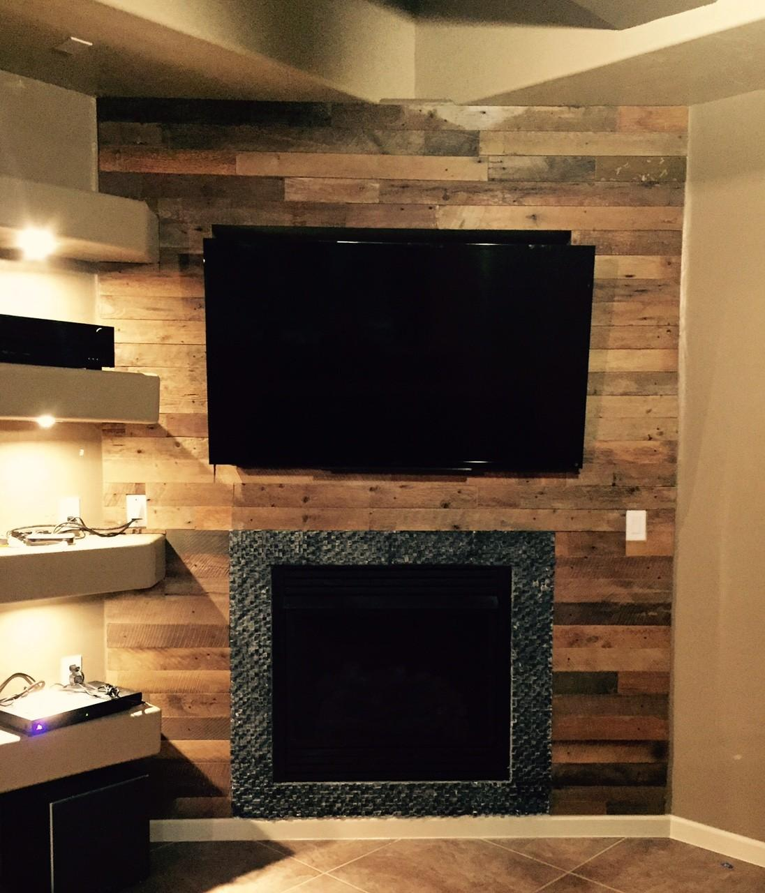 Diy Reclaimed Wood Accent Wall Brown Waxed Sealed