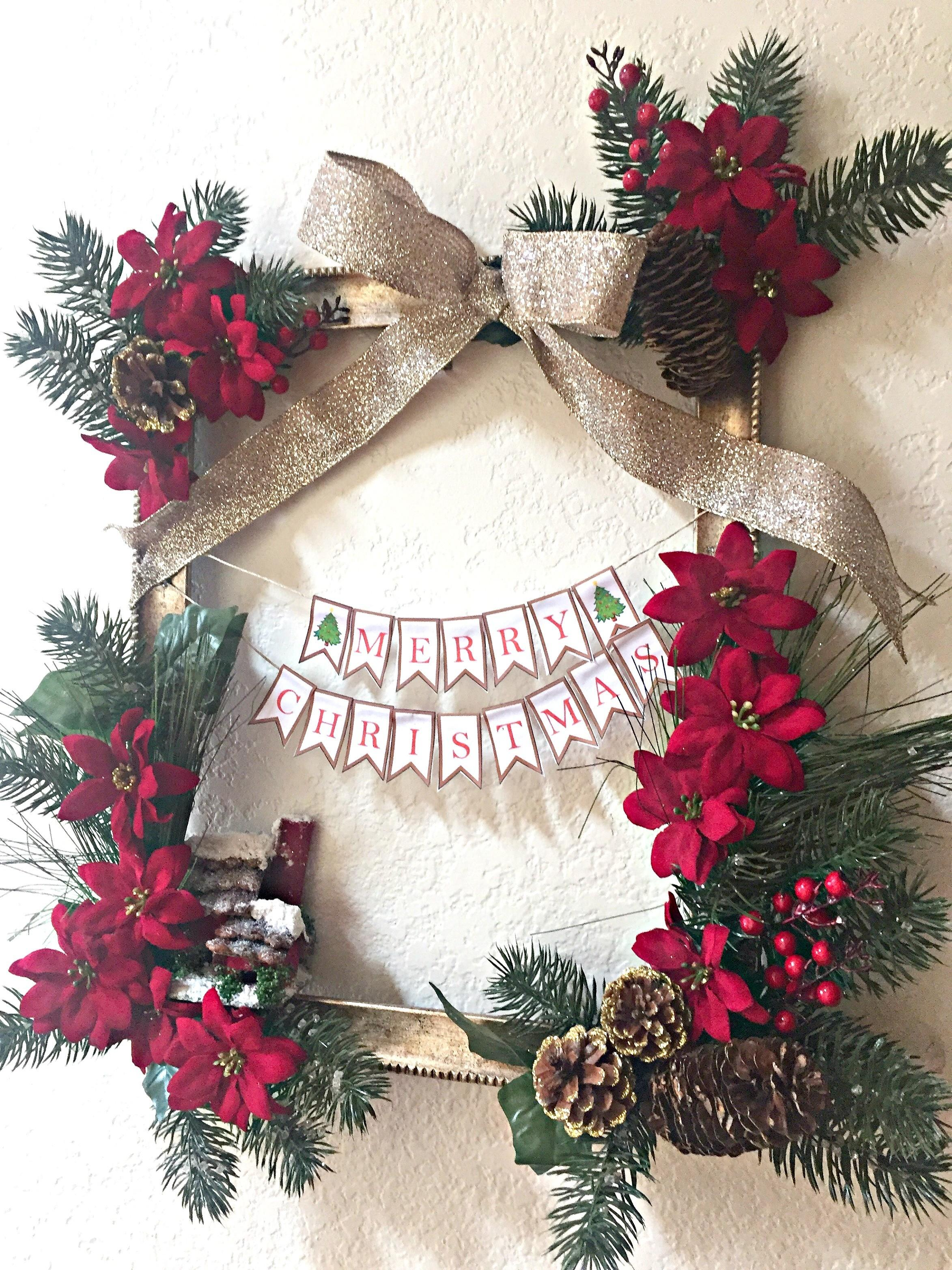 Diy Rectangle Christmas Wreath Just Daydreamer