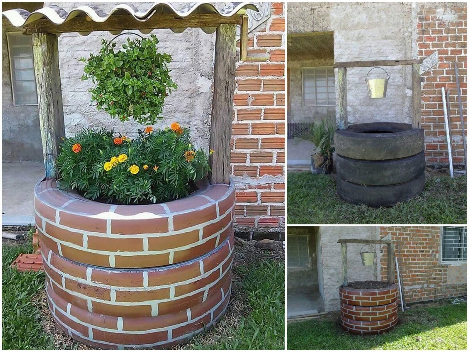 Diy Recycled Tires Wishing Well Home Design Garden