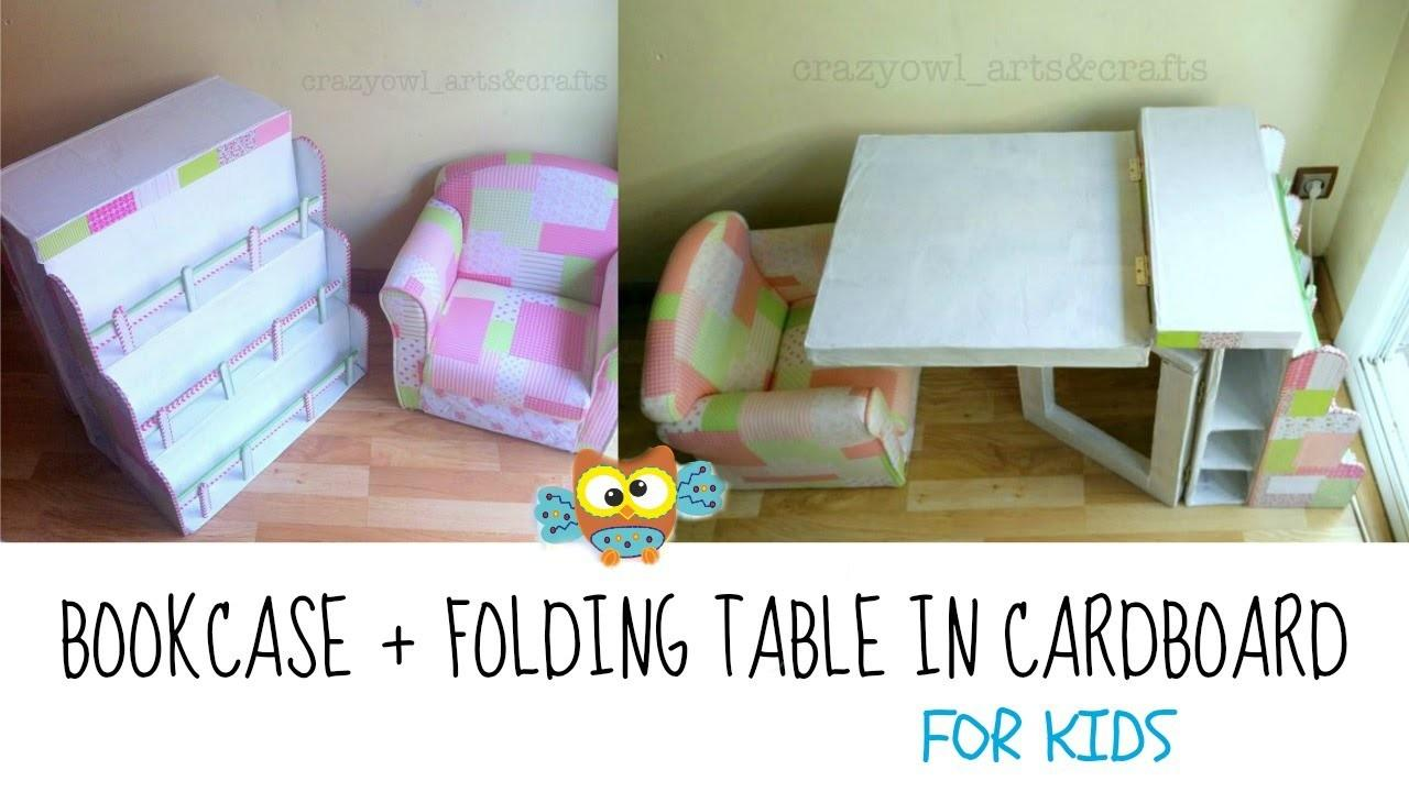 Diy Recycling Cardboard Bookcase Folding Table