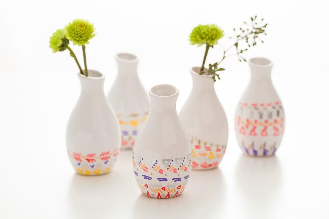 Diy Remix Pattern Dipped Bud Vases Brit