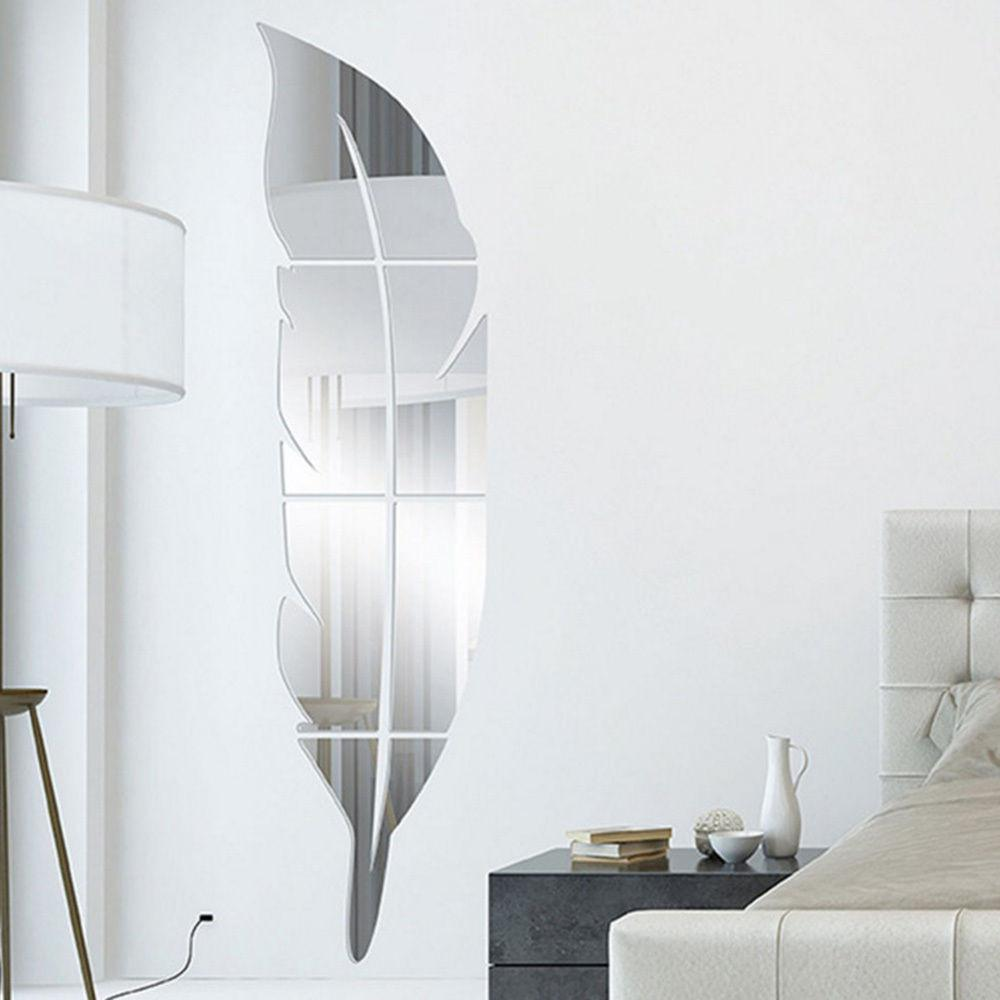 Diy Removable Feather Shape Mirror Wall Sticker Home Room