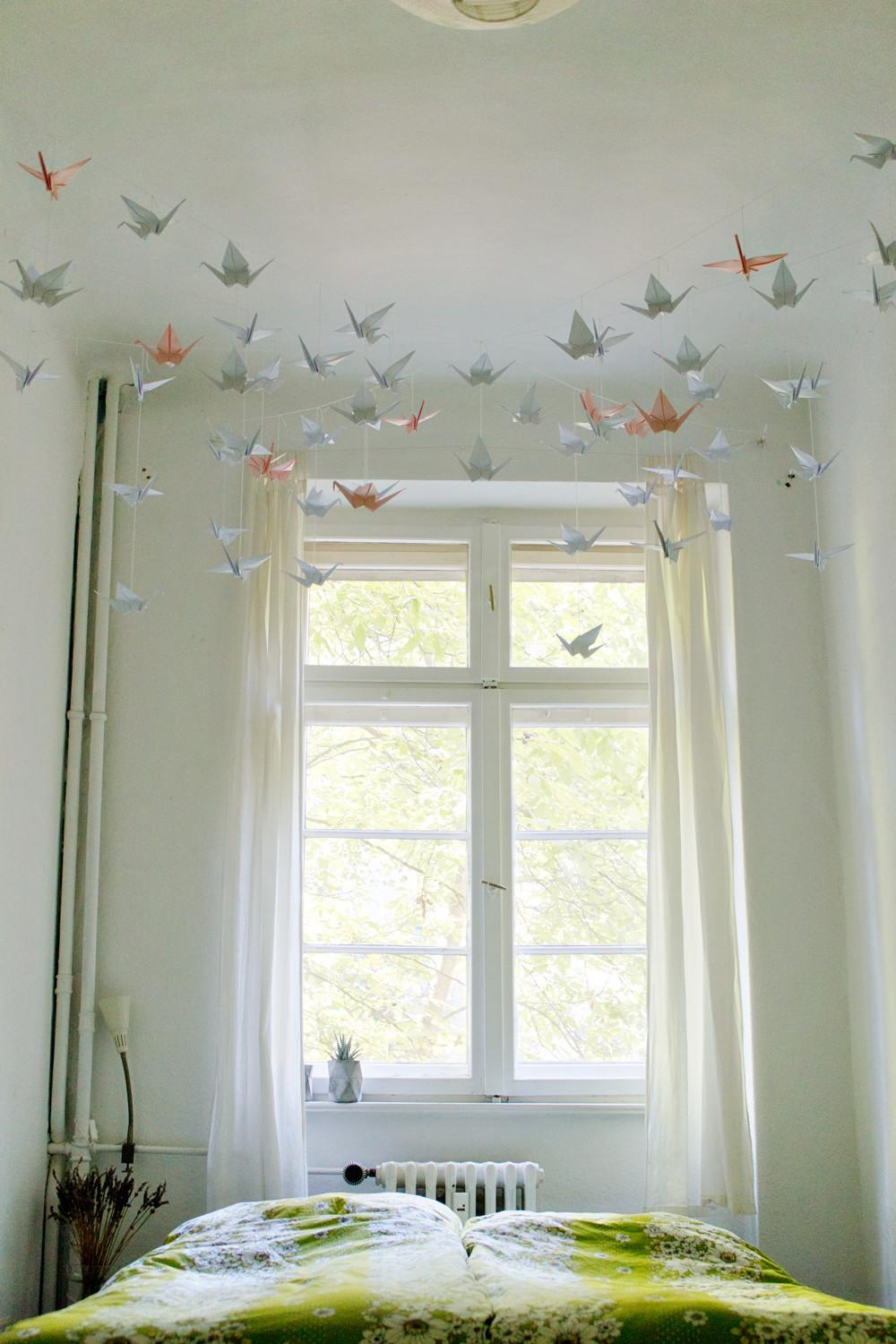 Diy Renters Friendly Origami Ceiling Decoration