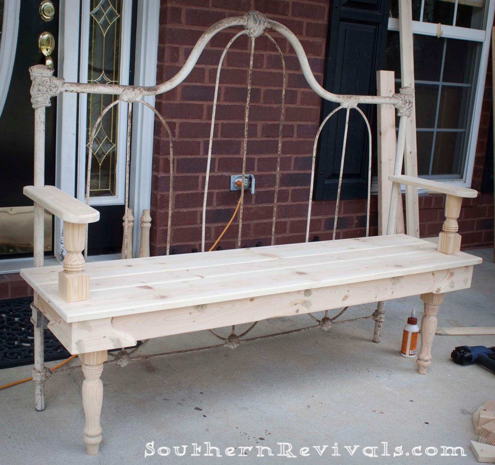 Diy Repurposed Metal Headboard Bench Southern Revivals