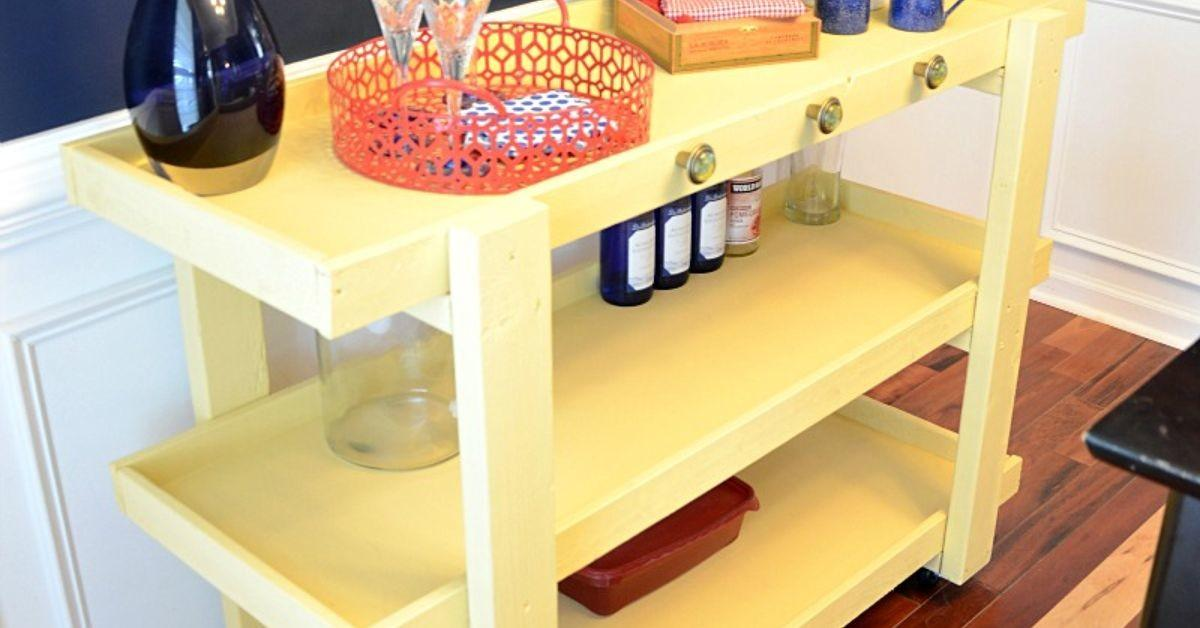 Diy Rolling Storage Cart Dining Room Hometalk