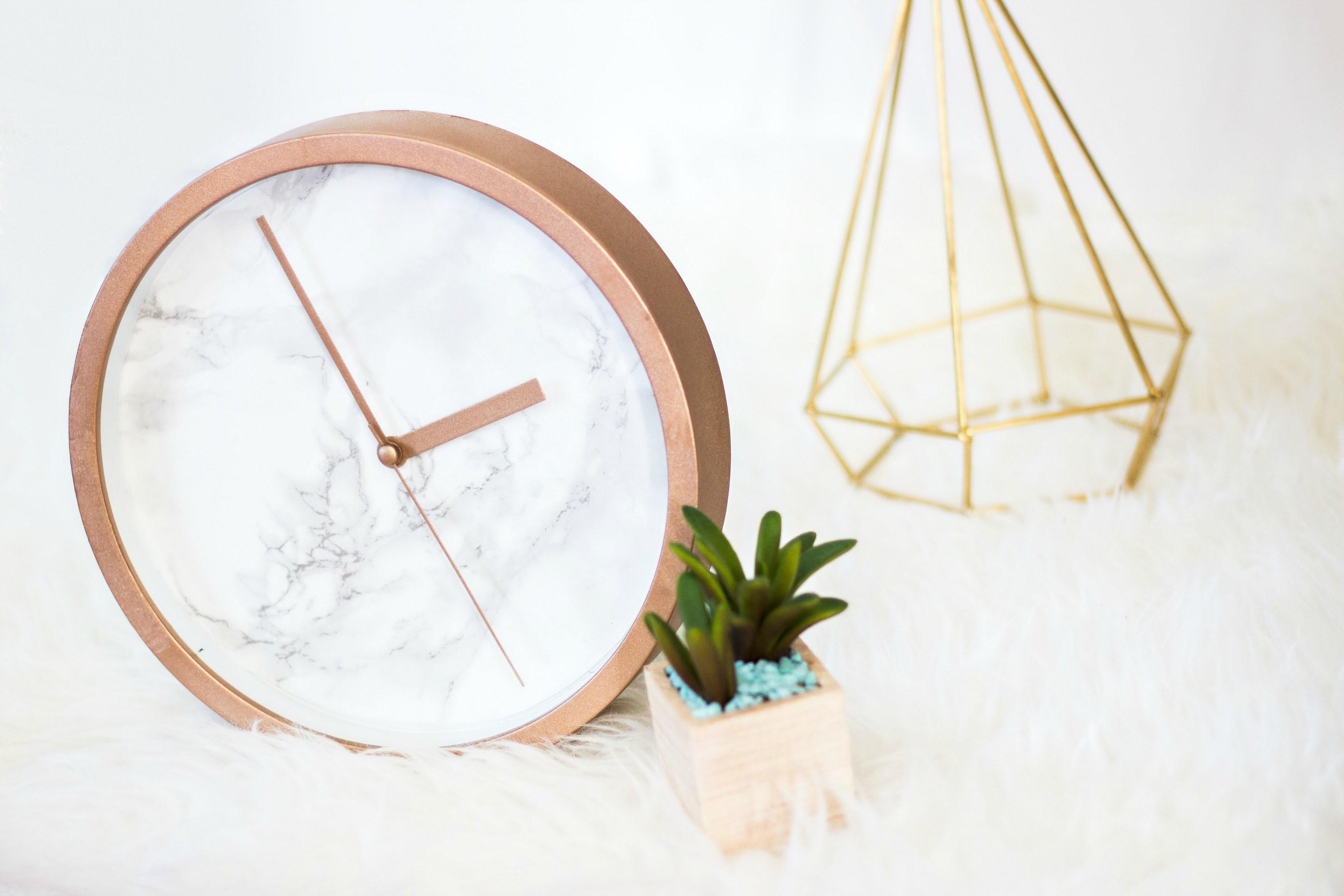 Diy Rose Gold Marble Clock