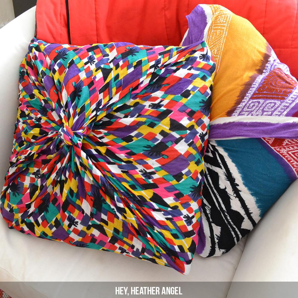 Diy Scarf Throw Pillow Cover Painted Fork