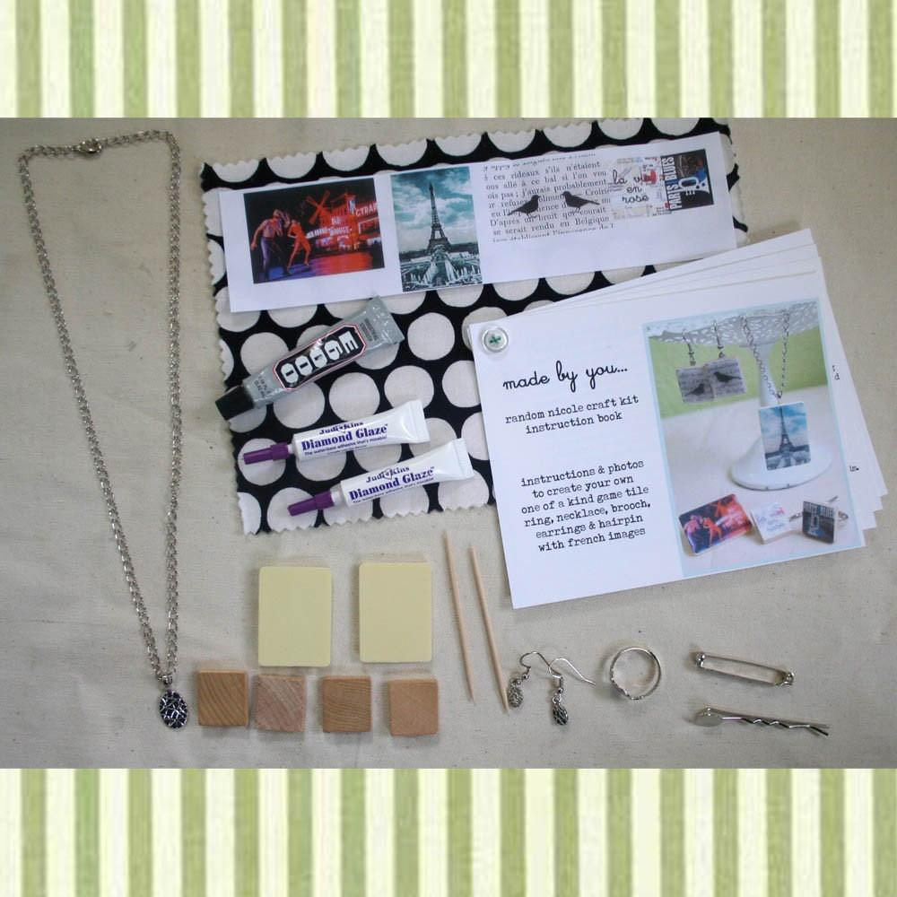 Diy Scrabble Tile Jewelry Craft Kit French