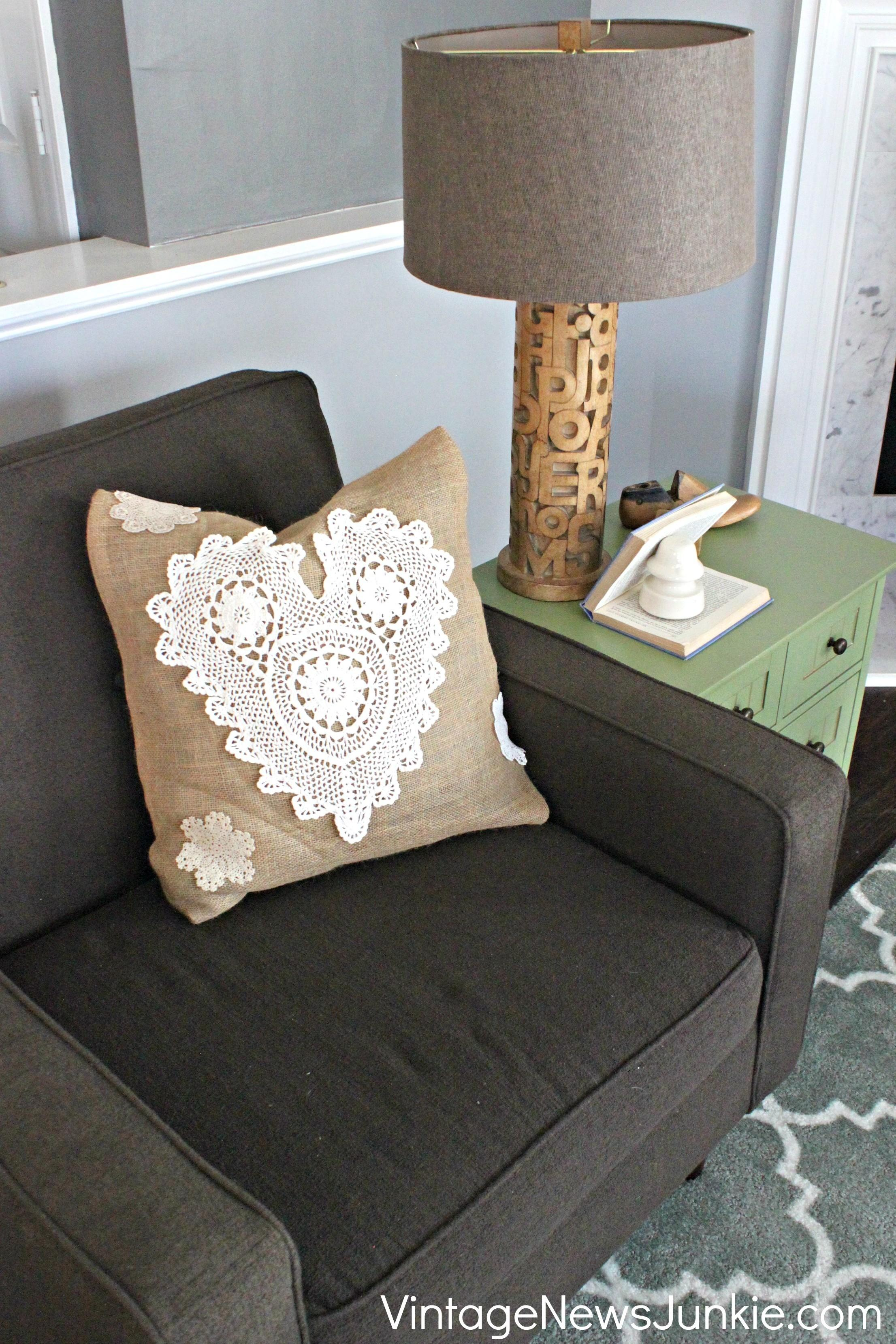 Diy Sew Burlap Heart Pillow Doilies Easy Tutorial