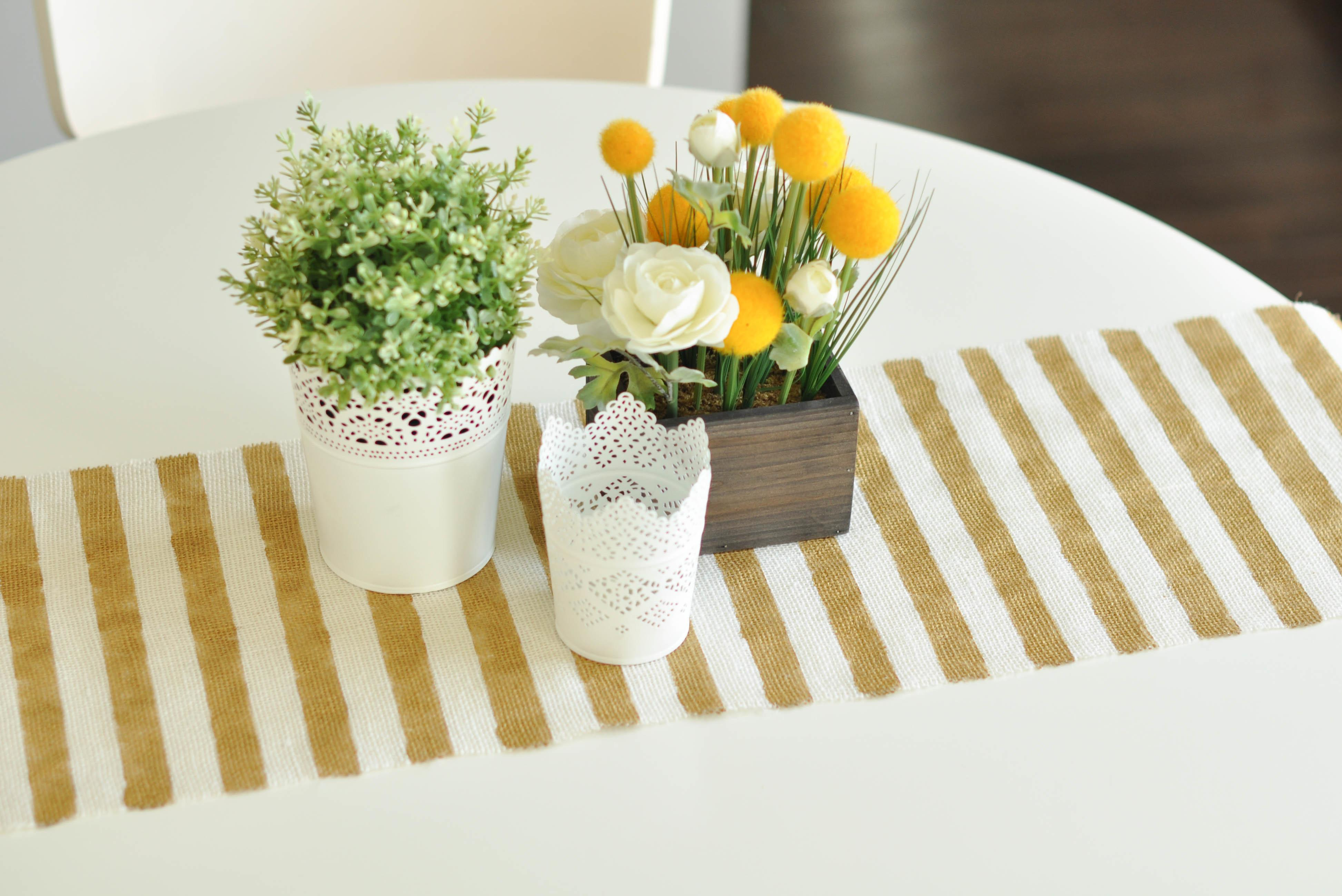 Diy Sew Gold Striped Burlap Table Runner Under