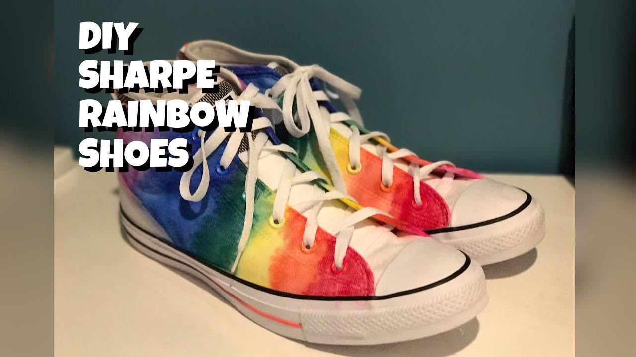Diy Sharpie Rainbow Shoes Crafts Projects