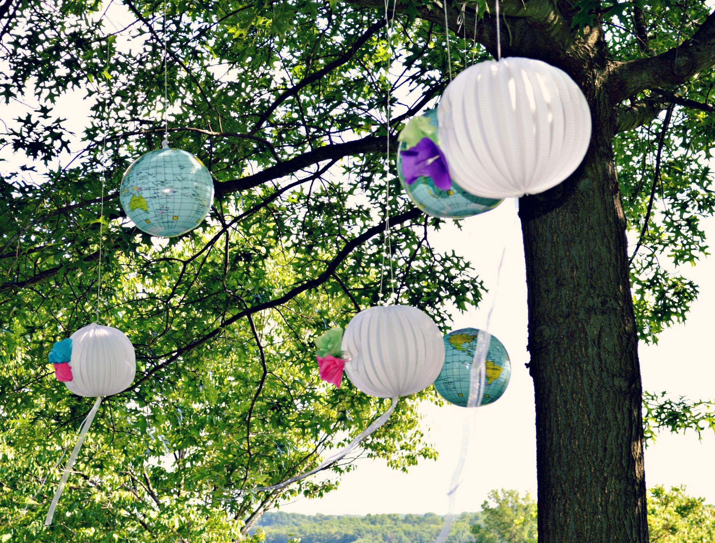 Diy Shower Decor Hanging Globes Lanterns Tissue Paper Flowers Some Kind Lovely Ride