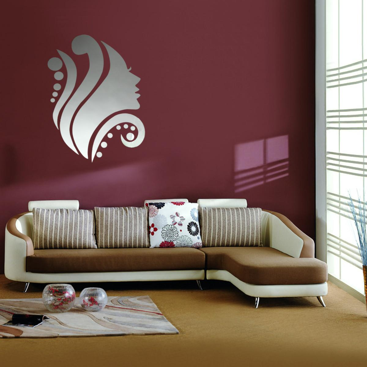 Diy Silver Mirror Surface Wall Sticker Mural Decal Art