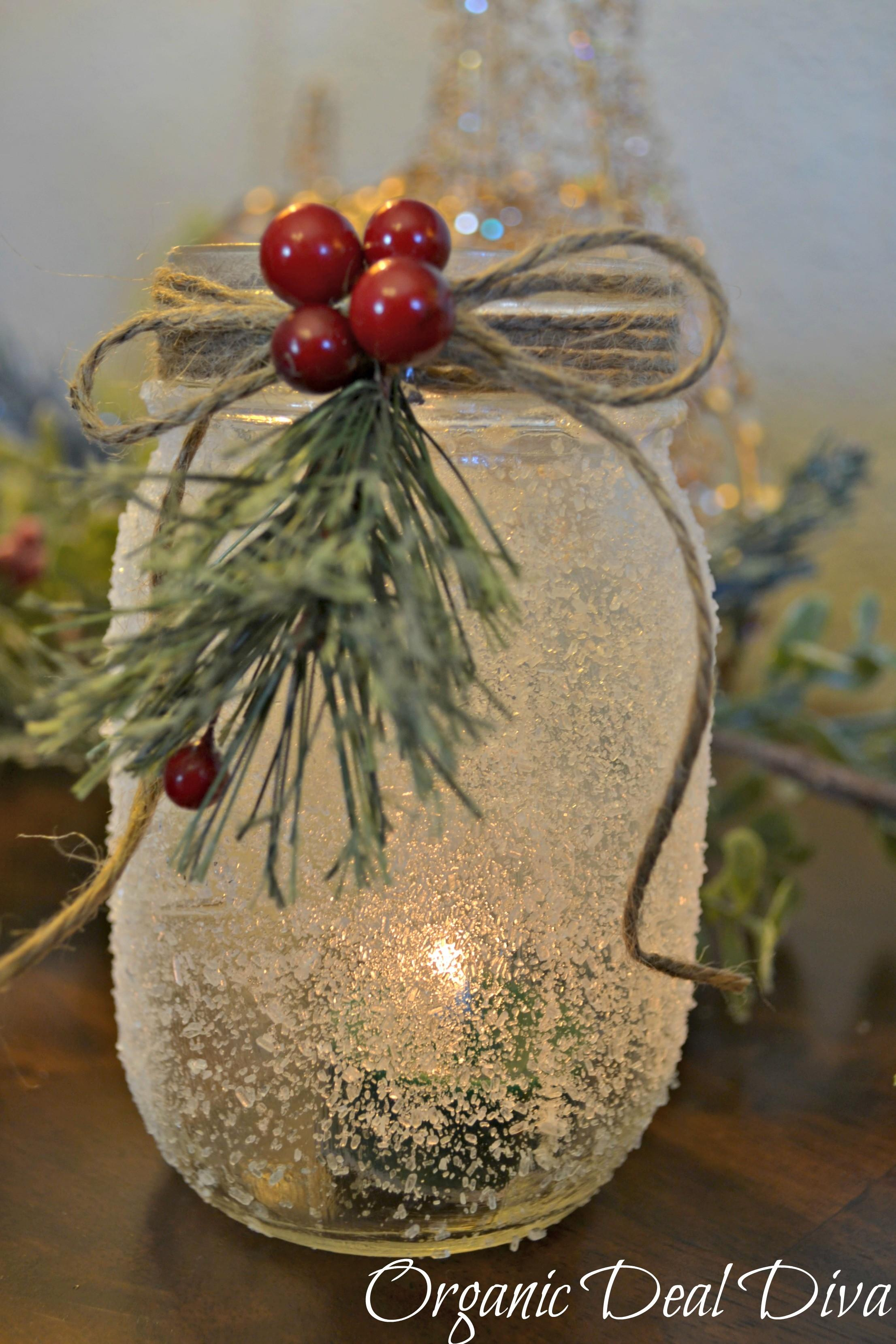 Diy Snow Covered Mason Jar Candle Holders