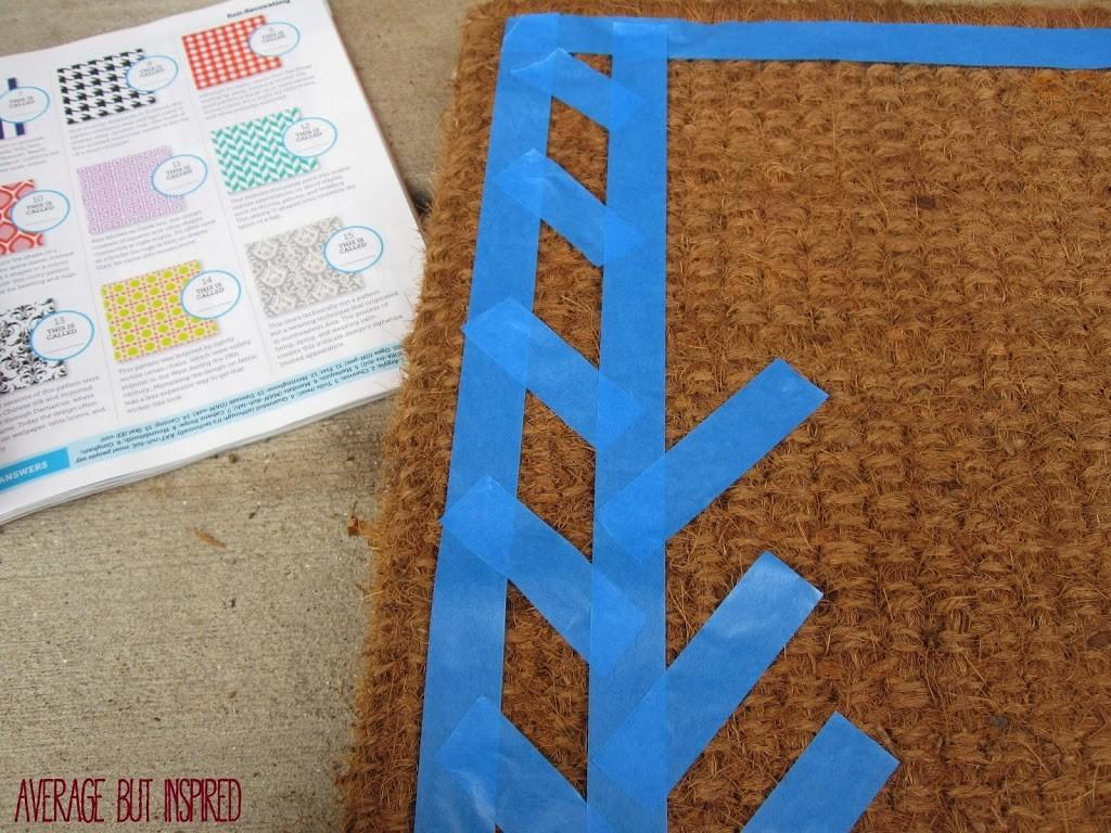 Diy Spray Painted Welcome Mat