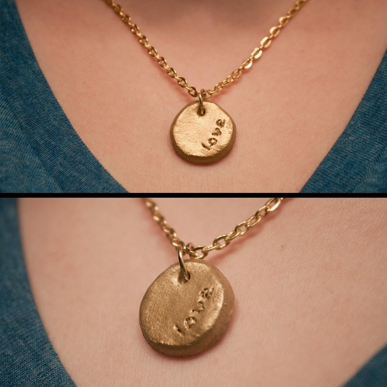 Diy Stamped Necklace Stamp Clay