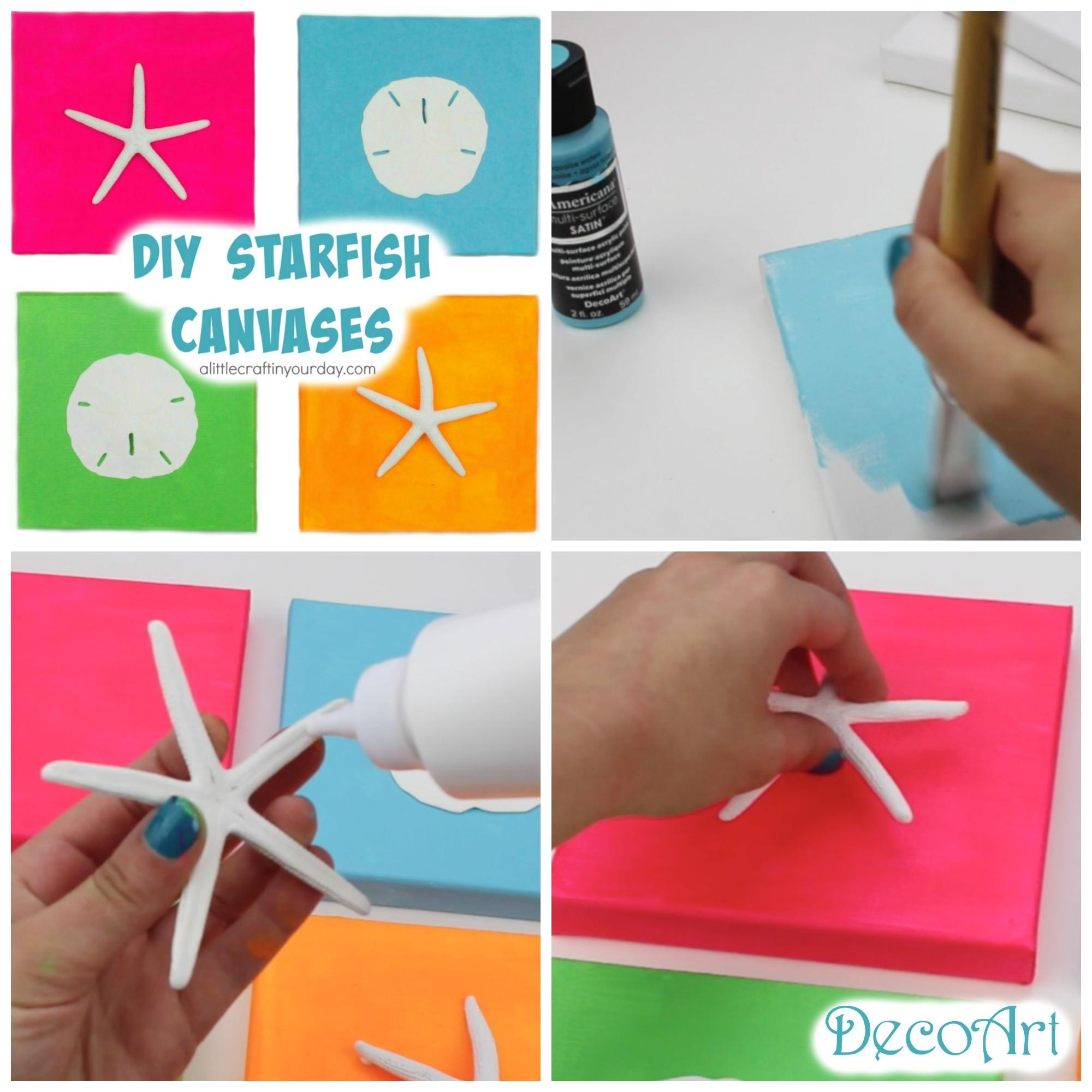 Diy Starfish Canvases Summer Room Decor Little Craft