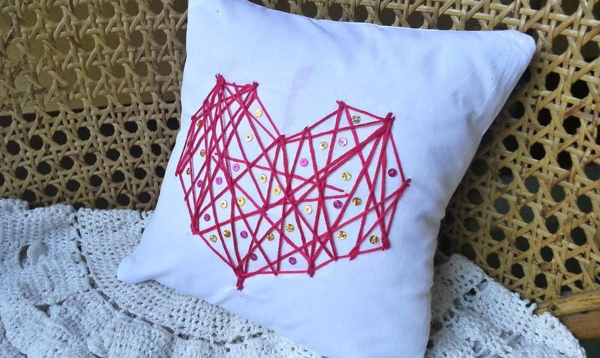 Diy String Heart Pillow Cover Valentine Day Crafts