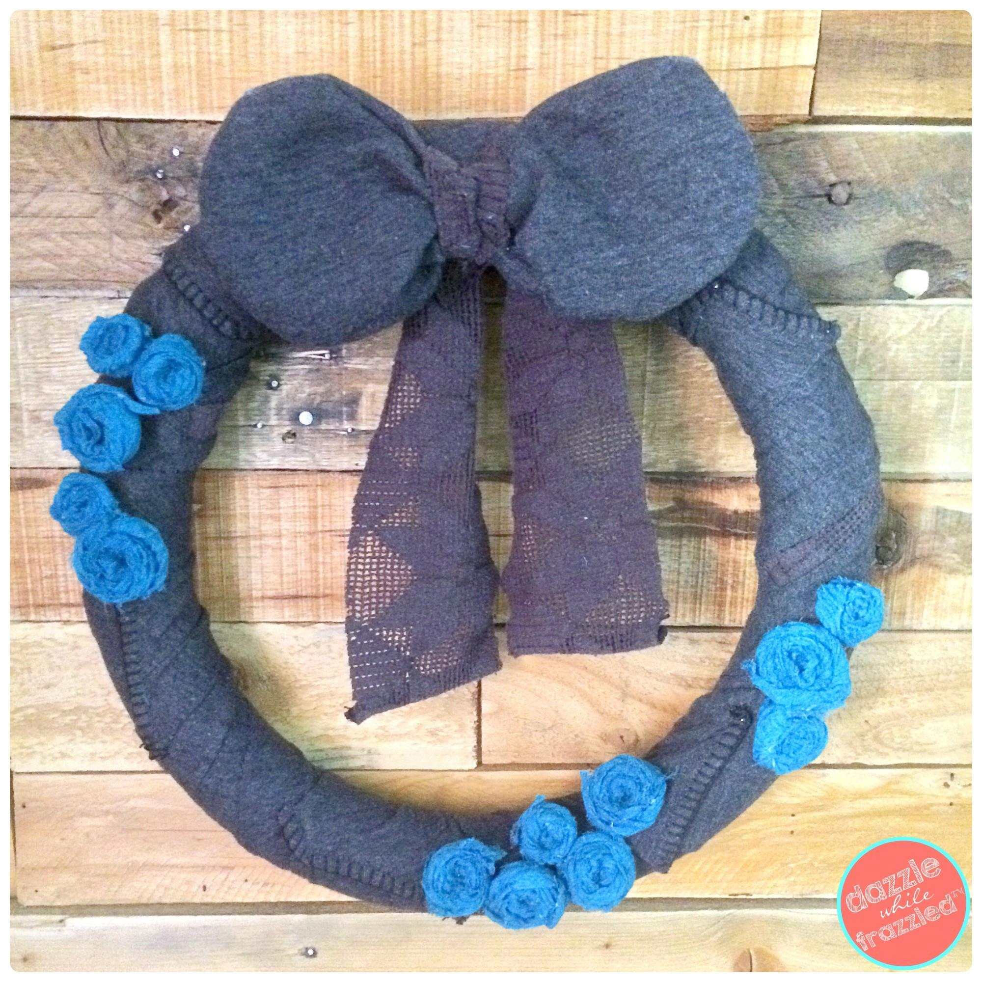 Diy Sweater Winter Wreath Upcycled Scarf Rosettes
