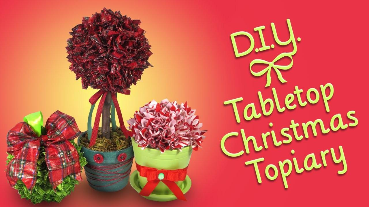 Diy Tabletop Christmas Topiary Ribbon Craft Ornament