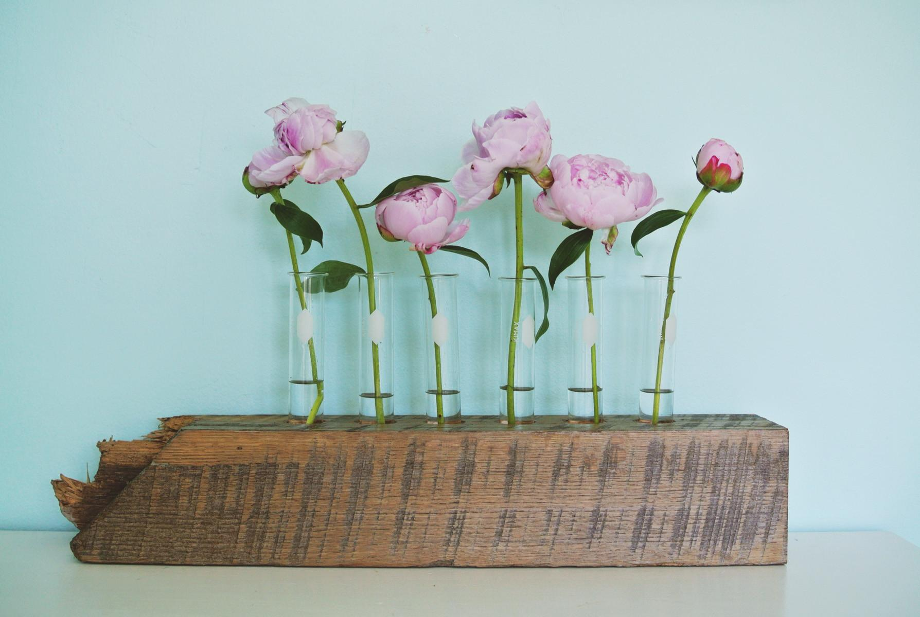 Diy Test Tube Flower Vase Reclaimed Wood Base