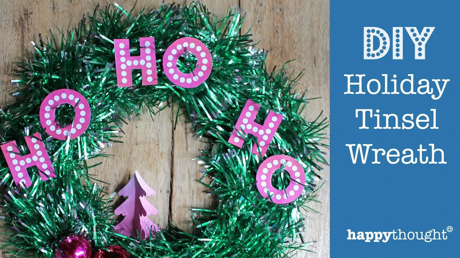 Diy Tinsel Wreath Make Holiday Decoration