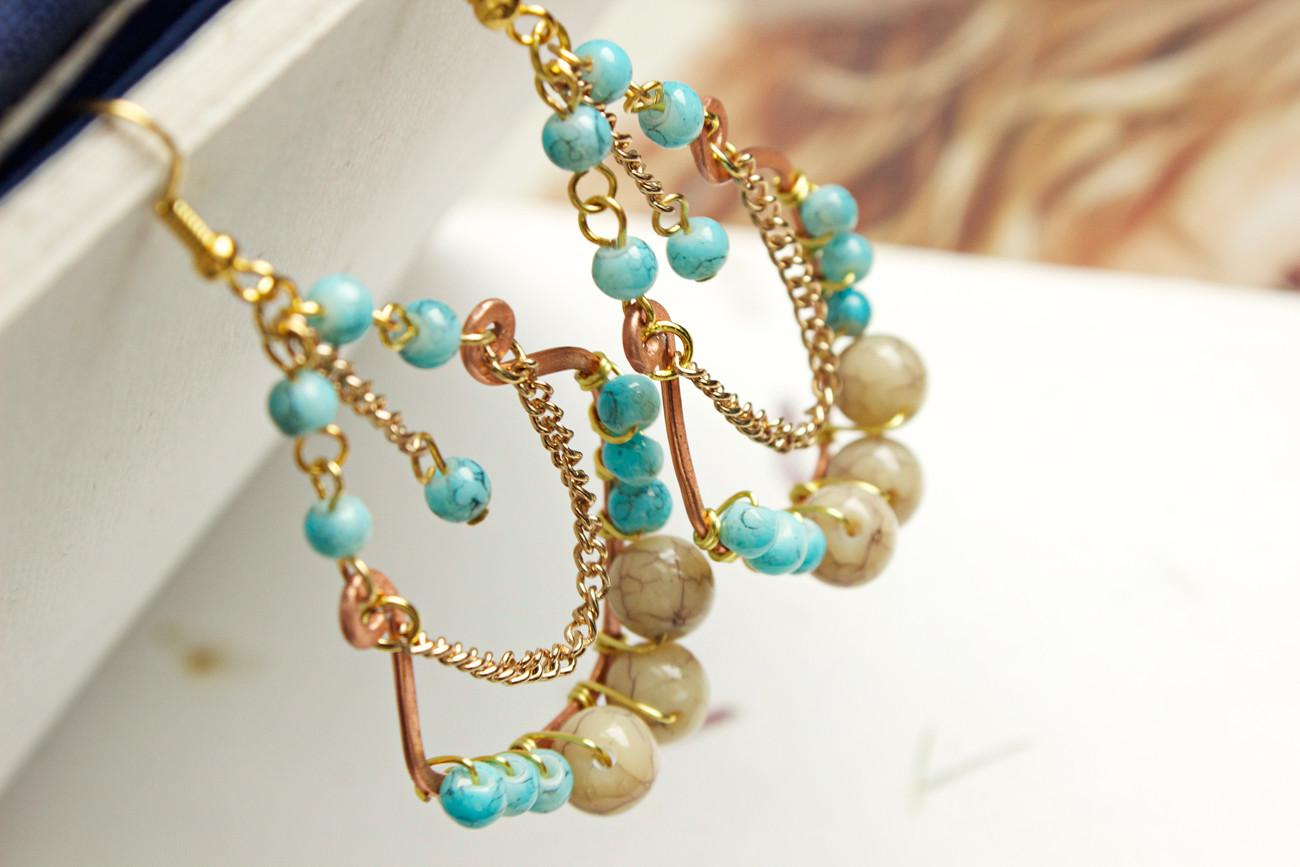 Diy Tulum Turquoise Earrings Fashion Beads Accessories