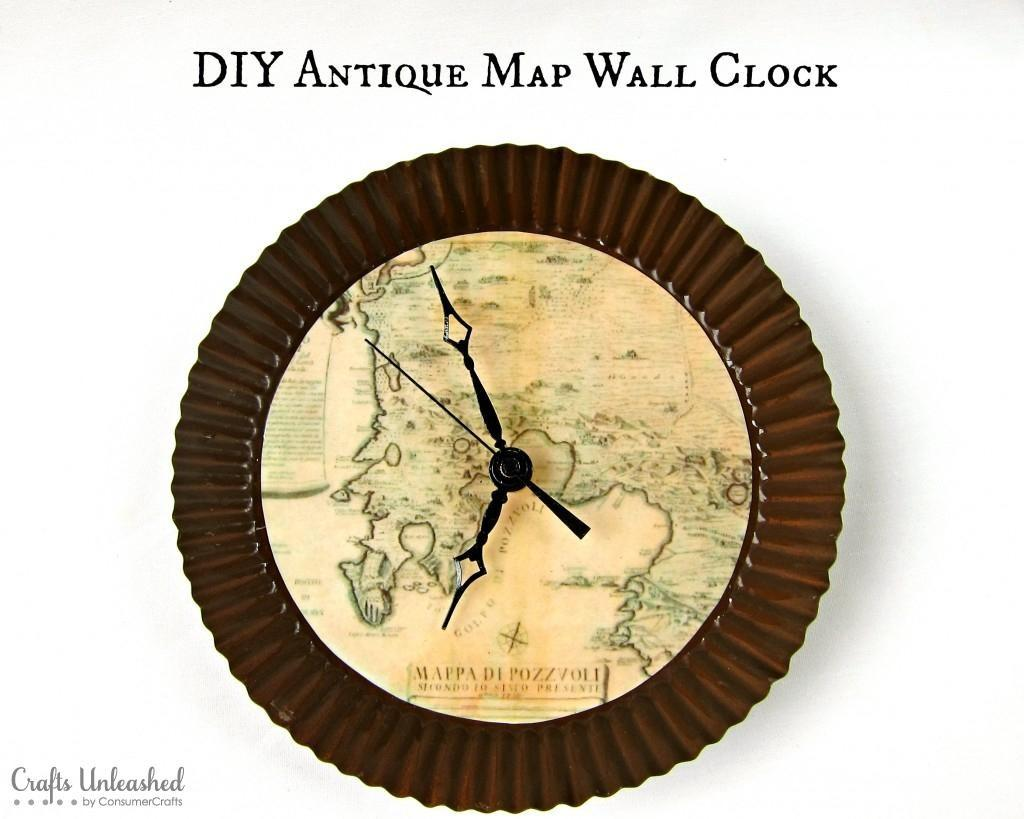 Diy Tutorial Home Decor Antique Map Wall Clock