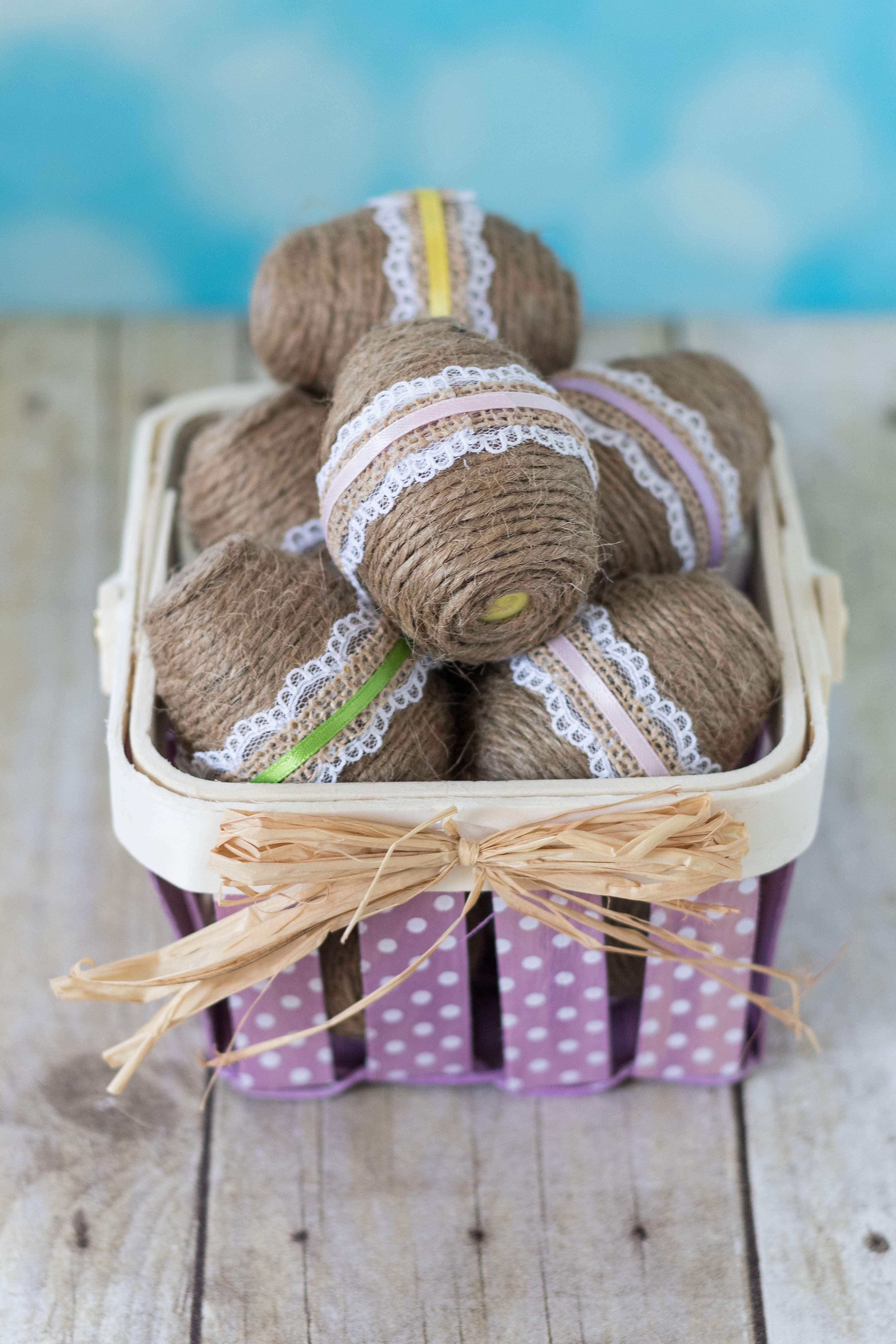 Diy Twine Wrapped Plastic Easter Eggs Lace Ribbon