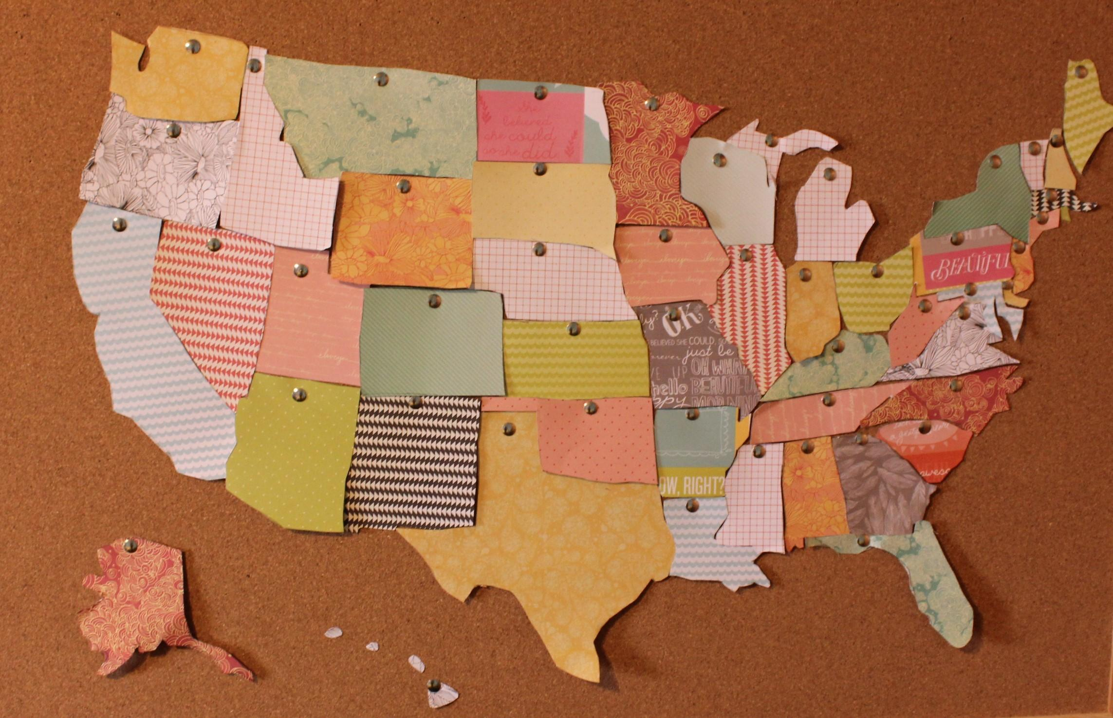 Diy United States Cork Board Map