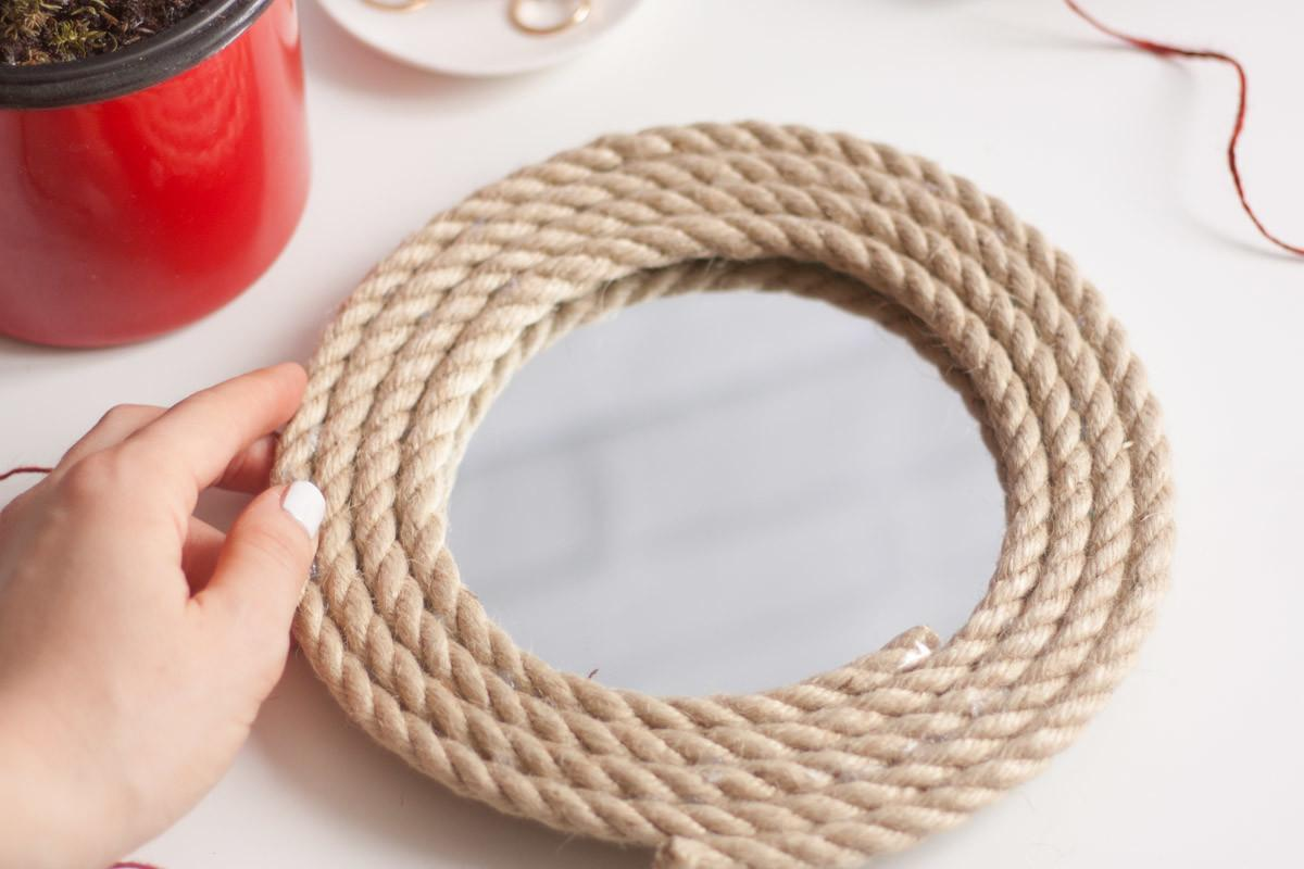 Diy Upcycled Rope Round Mirror