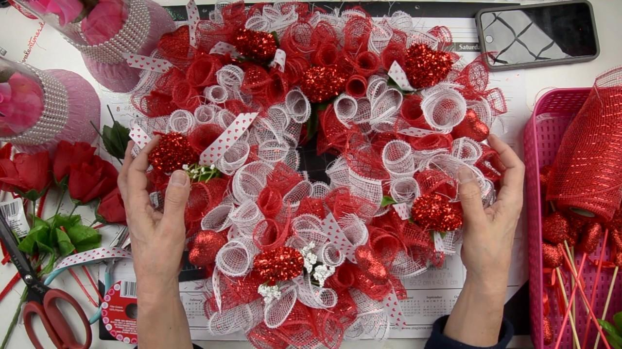 Diy Valentine Heart Wreath Using Dollar Tree Supplies