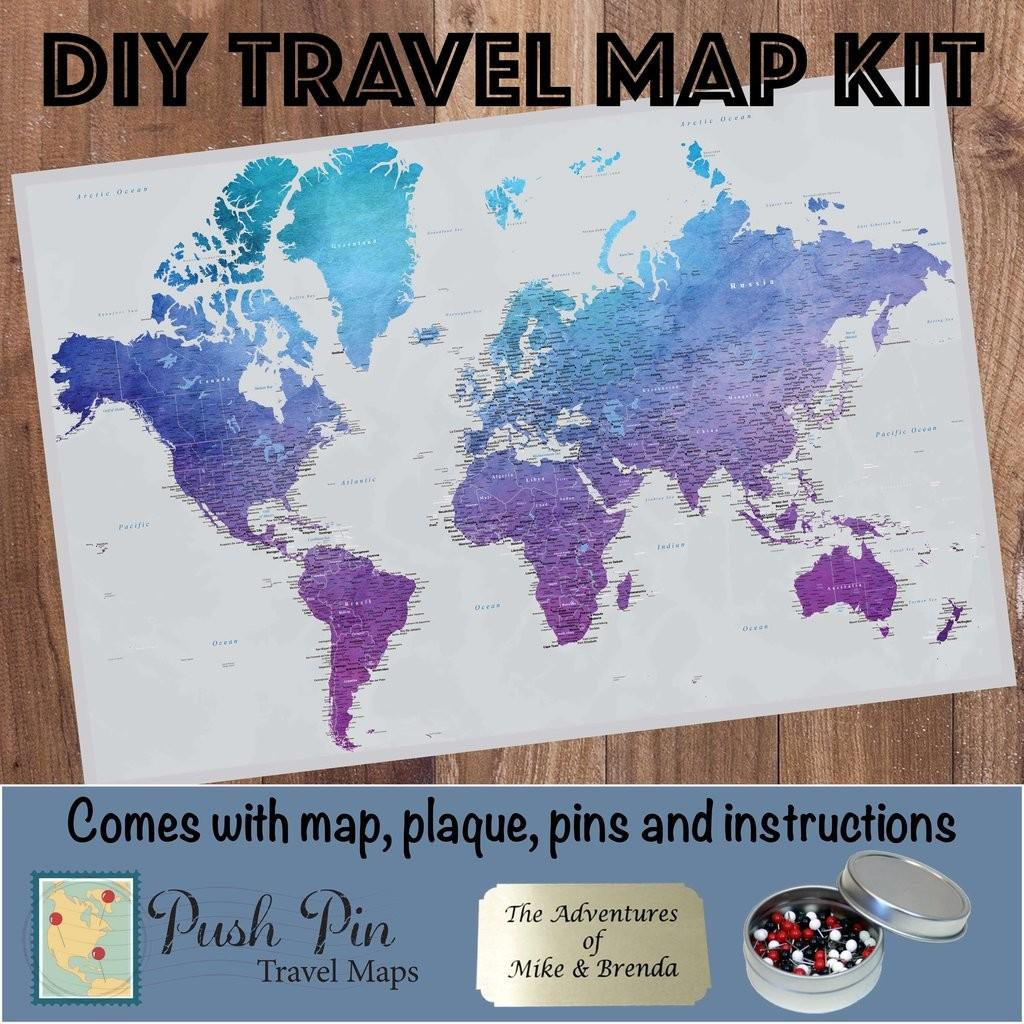 Diy Vibrant Violet Travel Map Watercolor World Poster