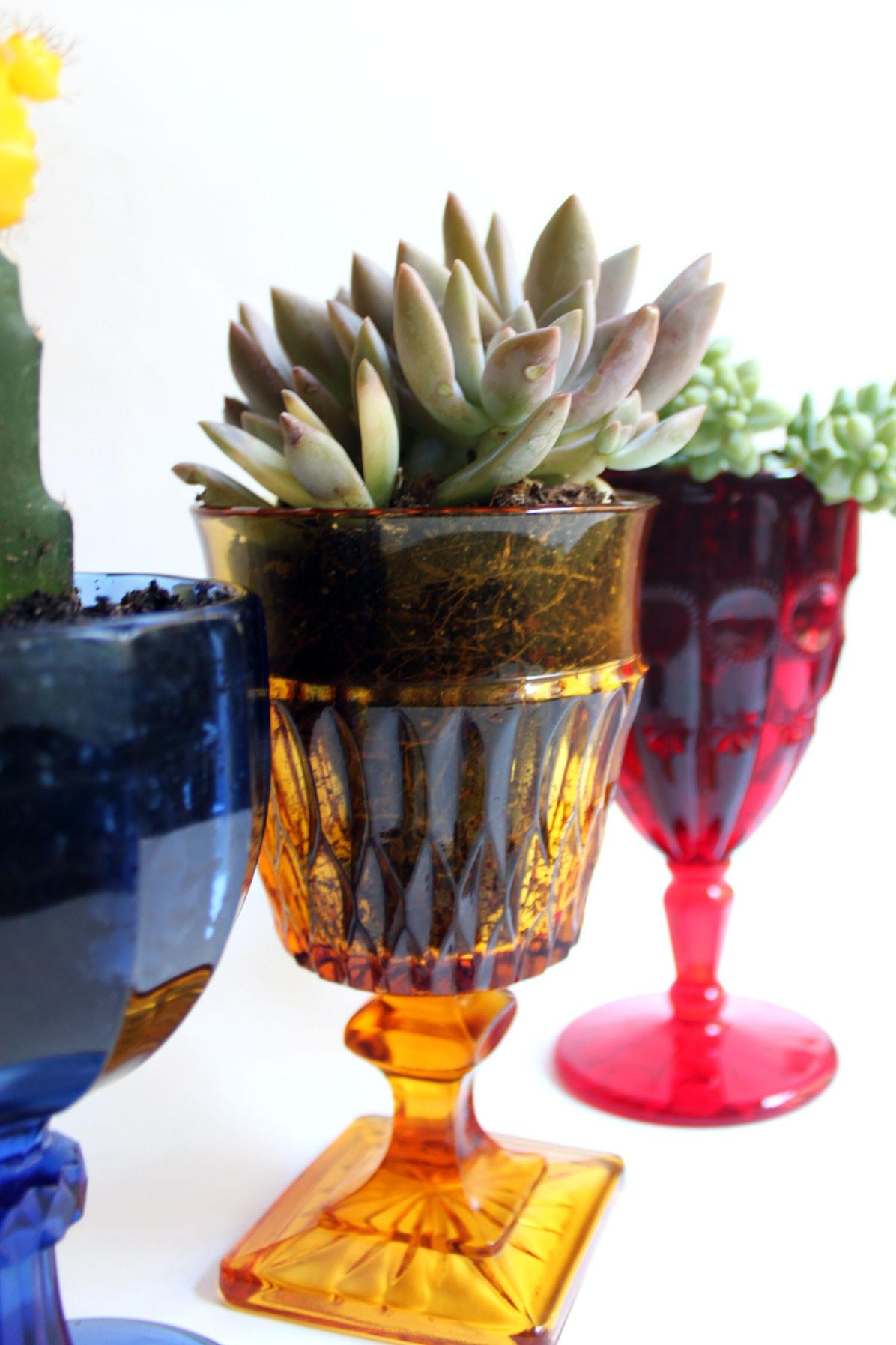 Diy Vintage Goblet Planters Paint Gown Red