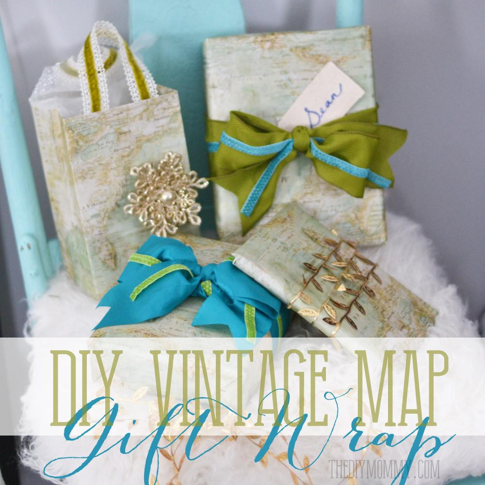 Diy Vintage Map Christmas Gift Wrap Bags
