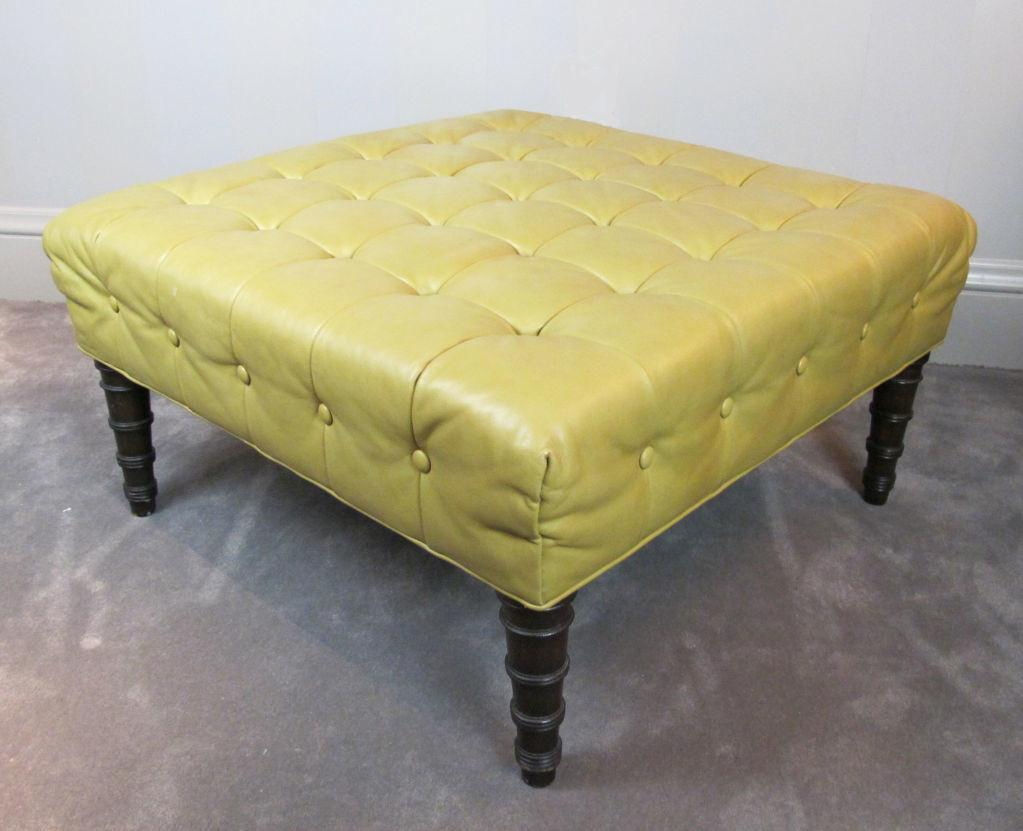 Diy Vintage Ottoman Yellow Leather Top Wooden